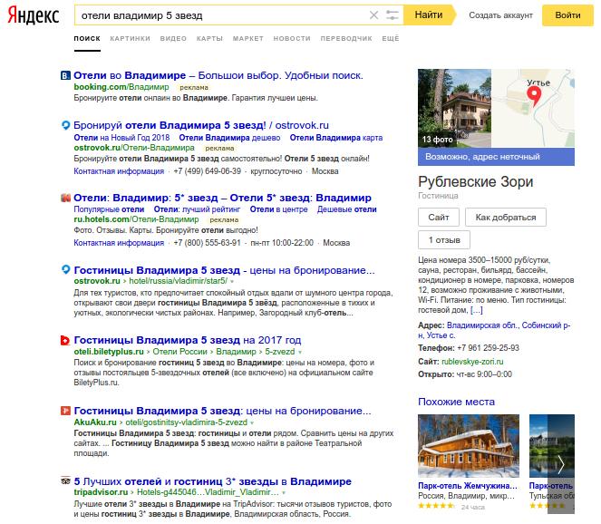 Пример выдачи Яндекса покоммерческому запросу